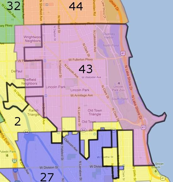 Google & 43rd Ward Maps | 345 Fullerton Parkway on